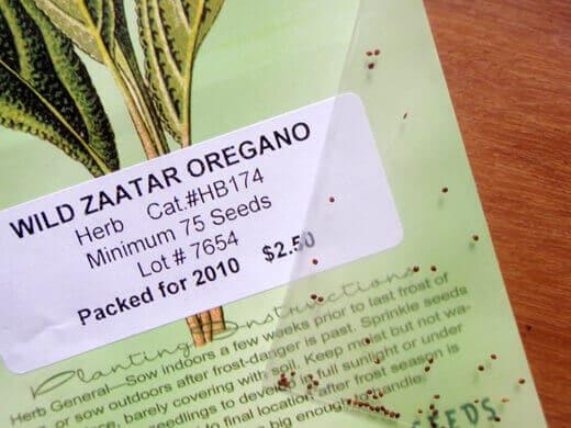 Wild zaatar oregano seeds