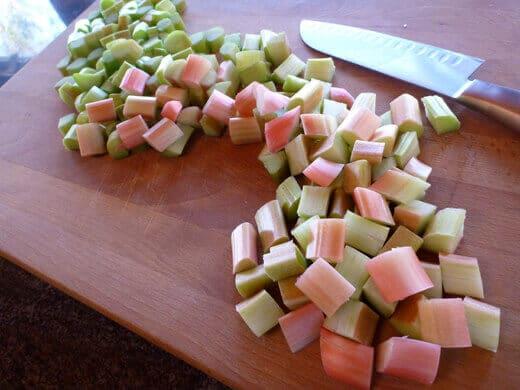 Chop rhubarb into small chunks