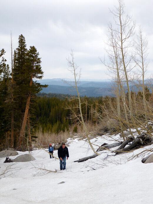 Trekking through the snowy John Muir Wilderness