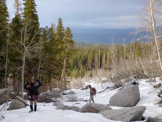 Hiking back down to the Sherwin Lake Trail
