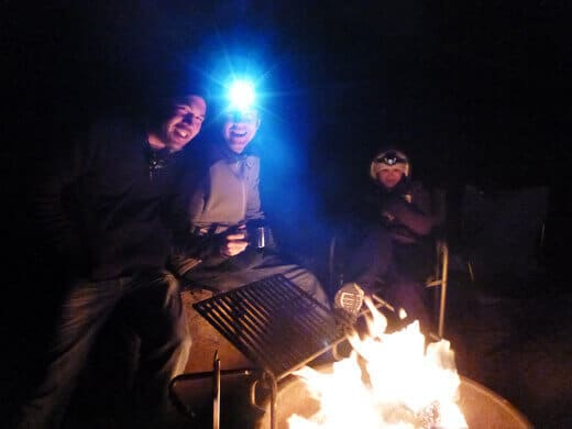 Wine and s'mores around the campfire