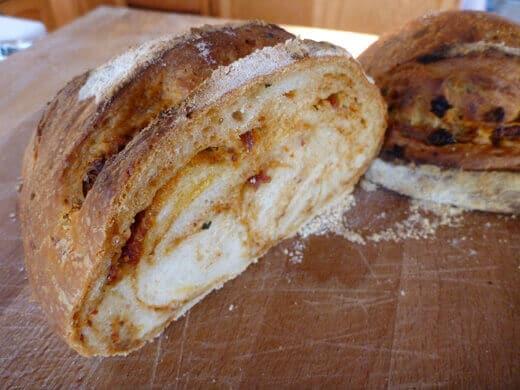 Homebaked sundried tomato tapenade bread