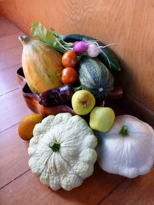 A cornucopia of veggies and fruits from the garden