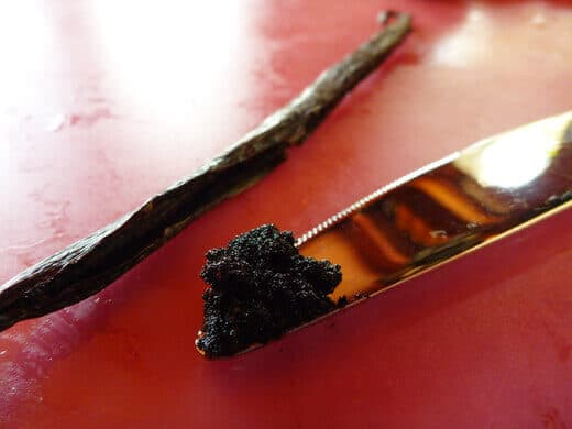 Split and scraped vanilla bean