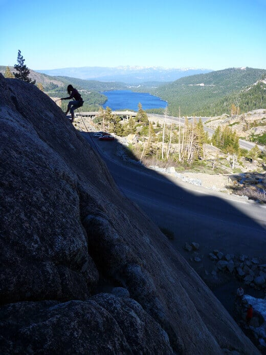 Rappelling with Donner Lake in the distance