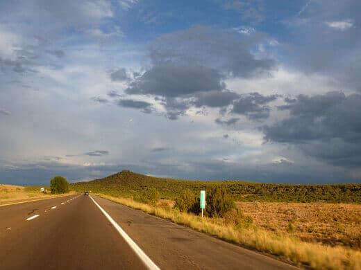 Driving on Highway 40 through the Arizona high desert
