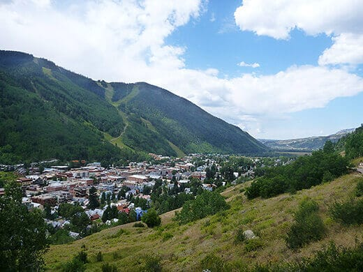 Grassy slopes above the village of Telluride