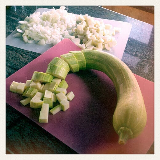 Chop up zucchini, potatoes and onion