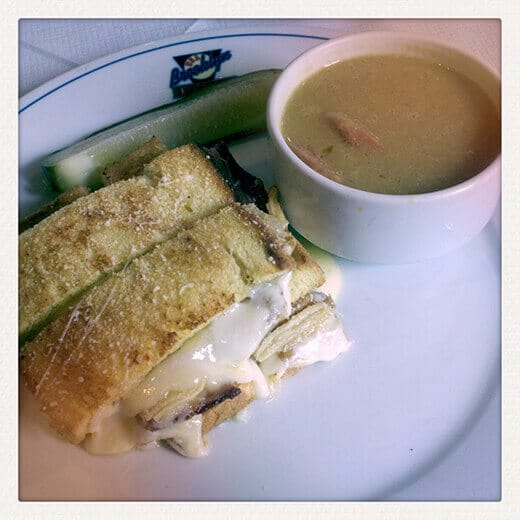 Grilled cheese and split pea soup