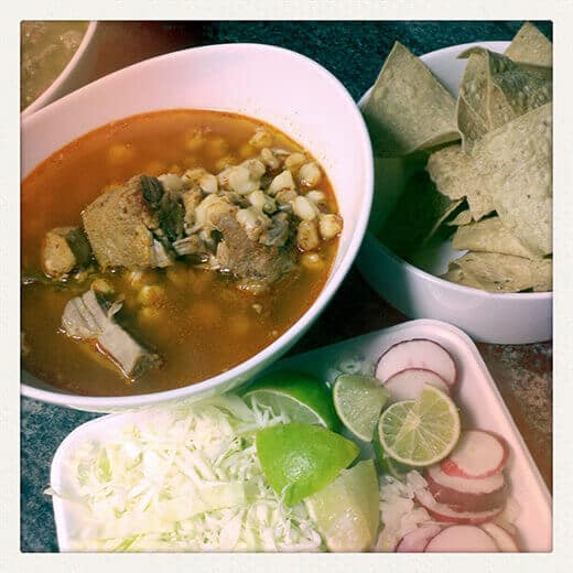 Hot, steaming bowl of pozole