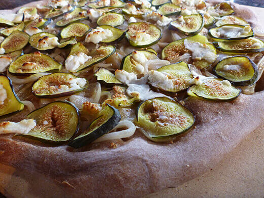 Roasted fig pizza with caramelized onion and goat cheese