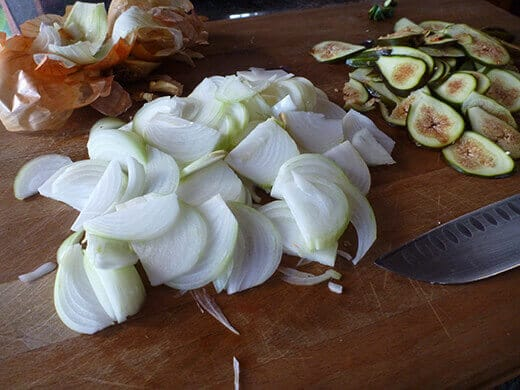 Slice onions into thin strips
