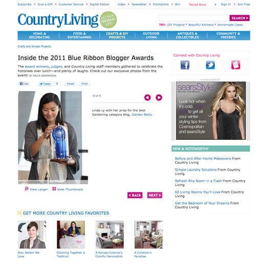 Garden Betty featured on Country Living website