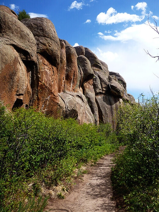 Trail leading to Penitente Canyon climbing areas
