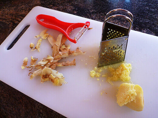 Peel and grate fresh ginger