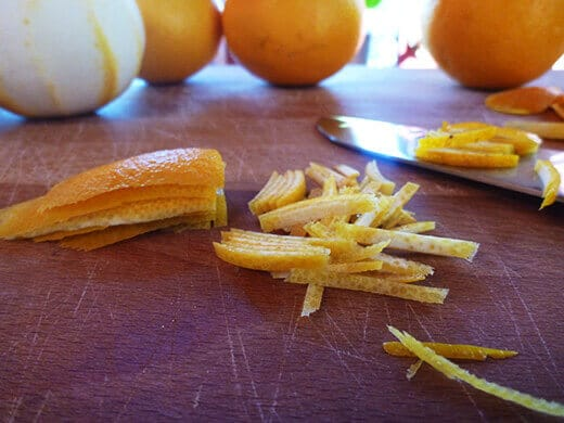 Stack several peels and slice into thin strips