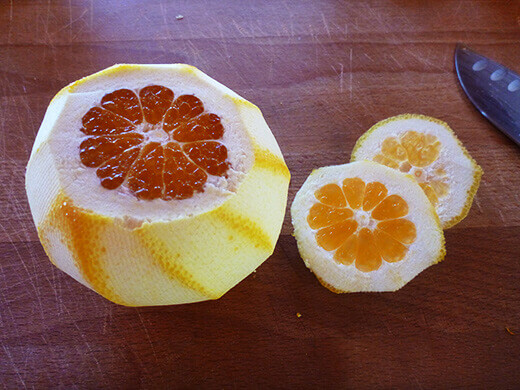Cut the top and bottom off of peeled fruit
