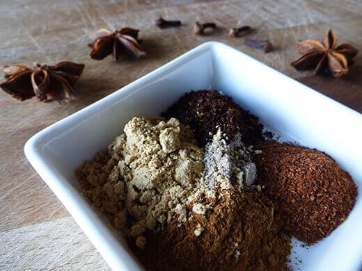 Ground cardamom, ginger, cinnamon, cloves, and star anise