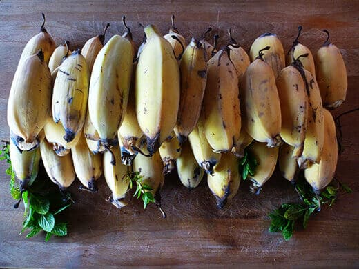 Homegrown banana harvest
