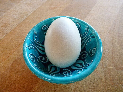Green-tinted egg from Easter Egger chicken