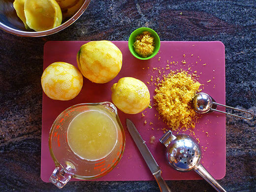 Set aside 1 tablespoon of zest, freeze the rest, and juice your lemons