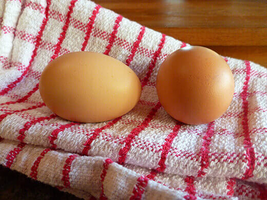 Brown eggs from my Barred Rock and Golden Laced Cochin