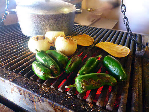 Grilled and marinated peppers and onions