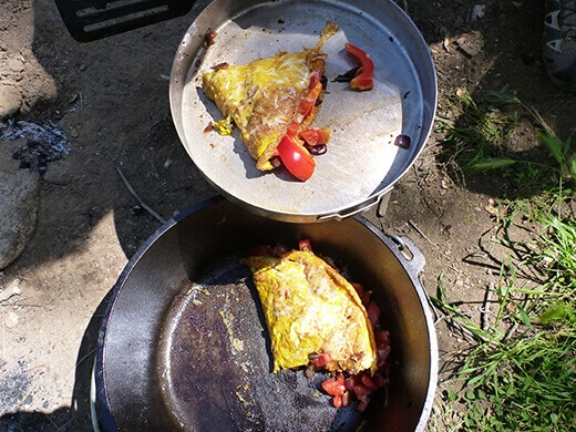 Cowboy omelet in a Dutch oven