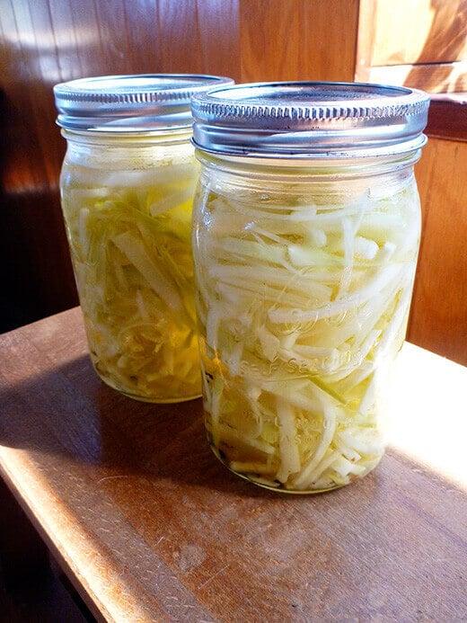 Quick pickled kohlrabi slaw