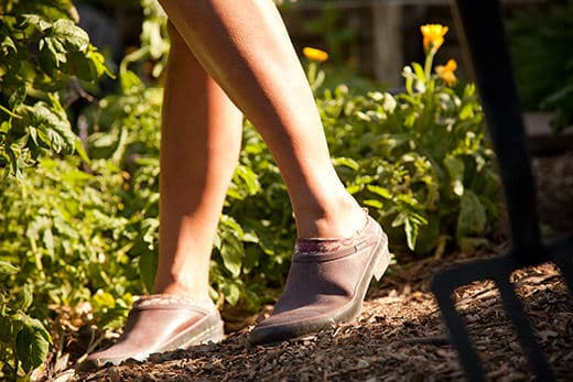 Wearing the Bogs Rose clogs