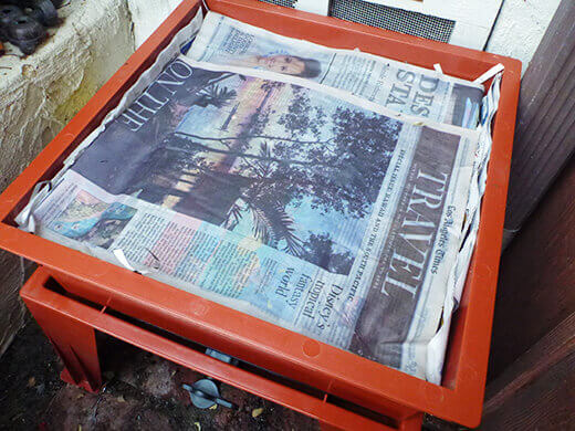 Layer a few sheets of moist newspaper on top of everything