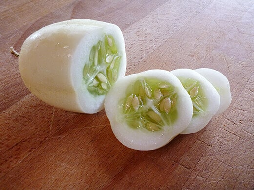 Dragon's Egg cucumber with seedy white flesh