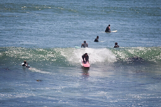 Taking off on a wave in Baja
