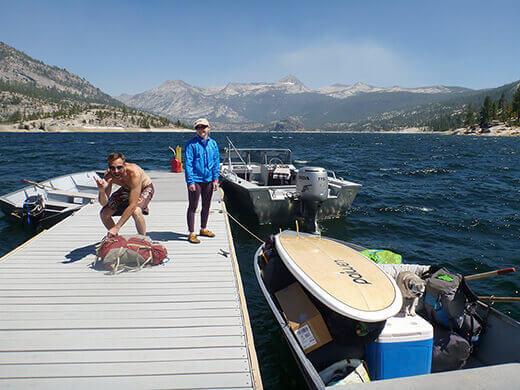 Packing our boat for the trip across the lake