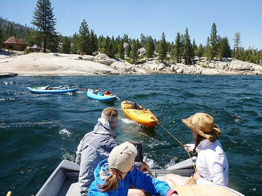 Towing kayaks behind our boat
