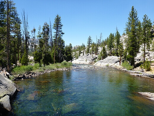 South Fork San Joaquin River flowing into Florence Lake