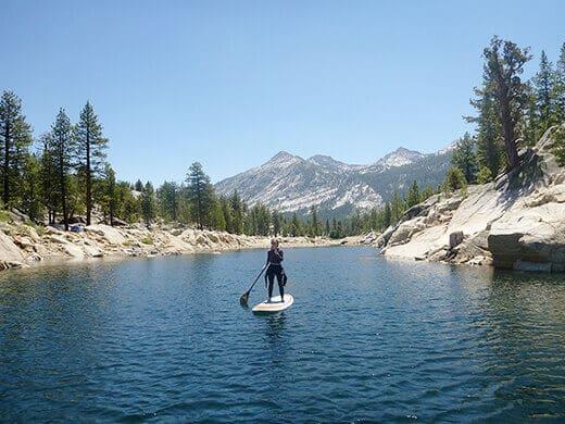 Stand-up paddleboarding on Florence Lake