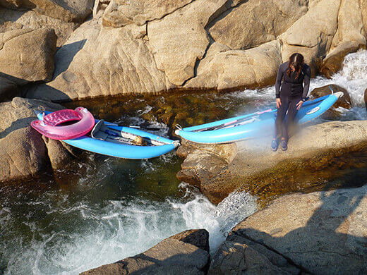 Rapids and rock slides on the river