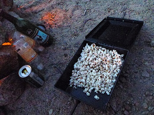 Freshly popped popcorn at camp