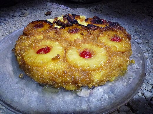 Pineapple upside-down cake from a Dutch oven