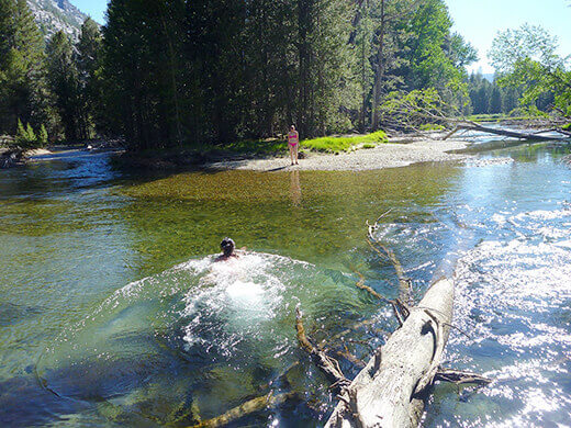 Taking a dip in the river