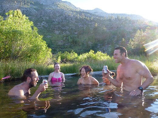 Soaking in Blayney Hot Spring and toasting our birthdays