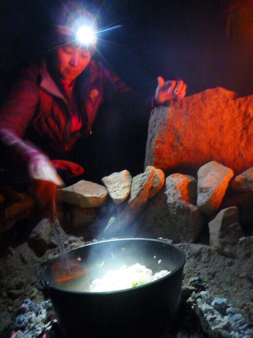 Cast iron cooking at camp
