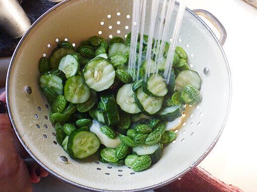 Rinse cucumbers