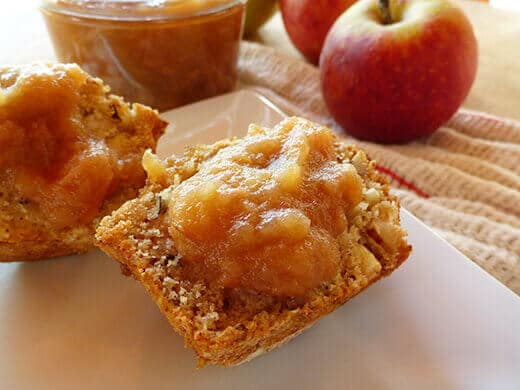 Spiced apple-pear butter on muffin