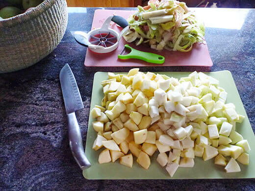 Chop up apples and pears