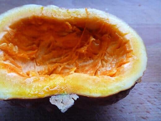 Bright orange flesh of Black Futsu squash tastes like a cross between pumpkin and chestnut