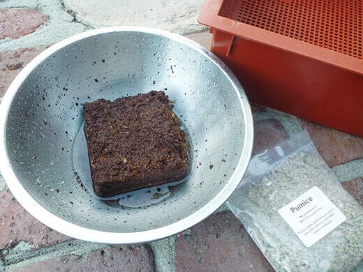 Rehydrate the leftover brick of coir