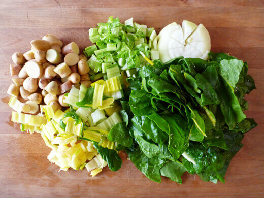 Ingredients for pureed swiss chard soup