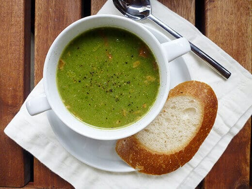 Pureed swiss chard soup